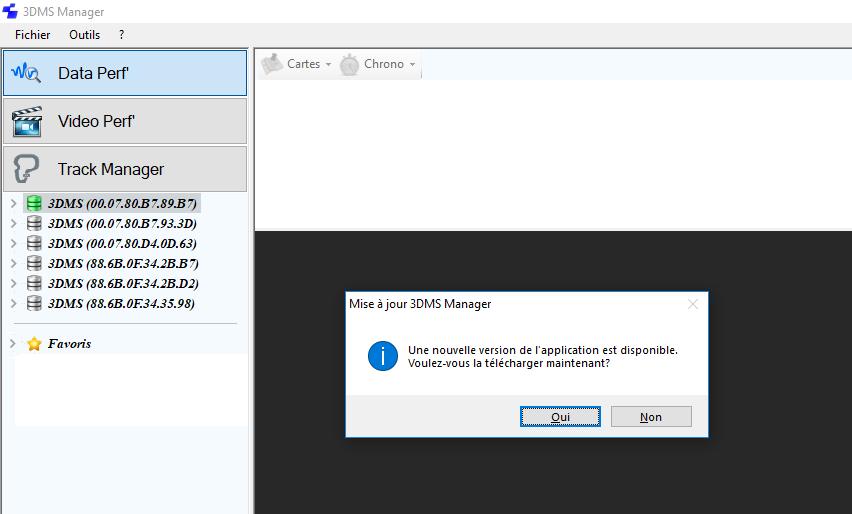 Fenêtre mise à jour 3DMS Manager